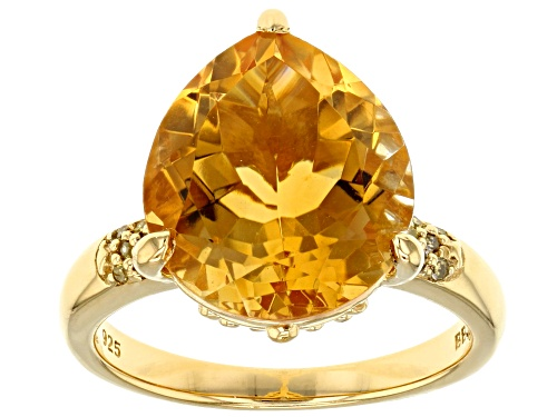 Photo of 5.78CT PEAR SHAPE CITRINE WITH .05CTW YELLOW DIAMOND 18K YELLOW GOLD OVER SILVER RING - Size 9