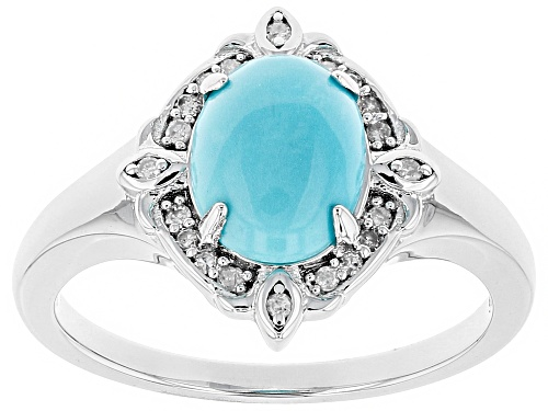 Photo of 9x7mm Oval Sleeping Beauty Turquoise With White Diamond Accent Rhodium Over Silver Ring - Size 12