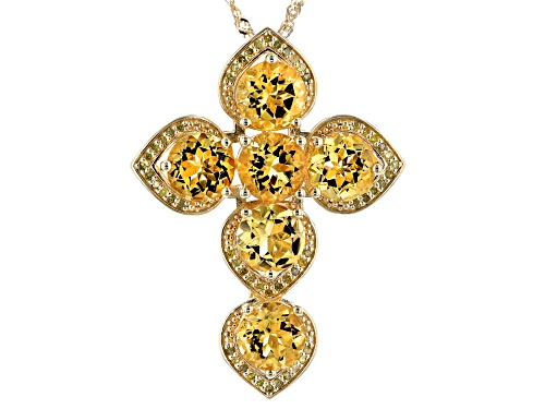 Photo of 10.03ctw Round Golden Citrine With .28ctw Yellow Diamond, 18k Gold Over Silver Pendant  W/ Chain