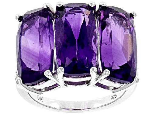 Photo of 11.22ctw Rectangular Cushion African Amethyst With Two Diamond Accent Rhodium Over Silver Ring - Size 7