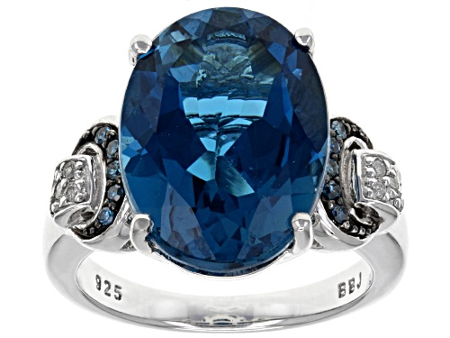 Photo of 10.20ct London Blue Topaz With .09ctw White & Blue Diamond Accent Rhodium Over Sterling Silver Ring - Size 5