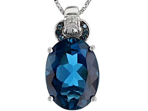 Photo of 10.20ct London Blue Topaz With .05ctw Diamond Accent Rhodium Over Sterling Silver Pendant W/ Chain