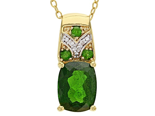 Photo of 1.84ctw Russian Chrome Diopside With .01ctw Diamond Accent 18k Gold Over Silver Pendant With Chain