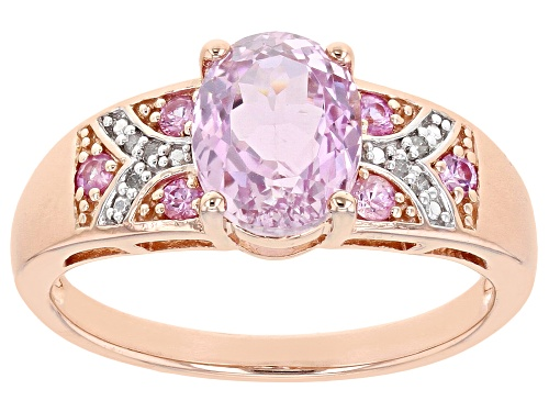 Photo of 2.20ct kunzite, .20ctw pink sapphire & .01ctw white diamond accent 18k rose gold over silver ring - Size 9