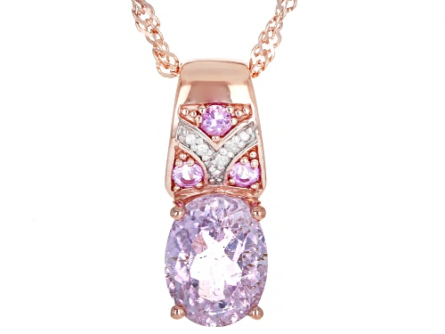 Photo of 2.30ctw kunzite & pink sapphire, .01ctw 3 diamond accent 18k rose gold over silver pendant w/chain