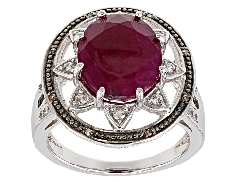 Photo of 5.24ct Indian Ruby, .04ctw Diamond Accent, And .21ctw Zircon Rhodium Over Sterling Silver Ring - Size 7
