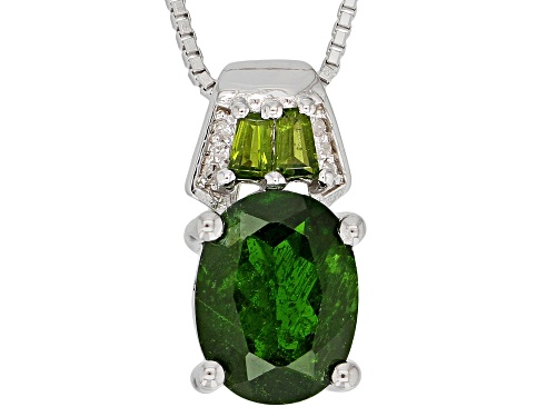 Photo of 1.72ctw Russian Chrome Diopside With .01ctw Diamond Accent Rhodium Over Silver Pendant With Chain