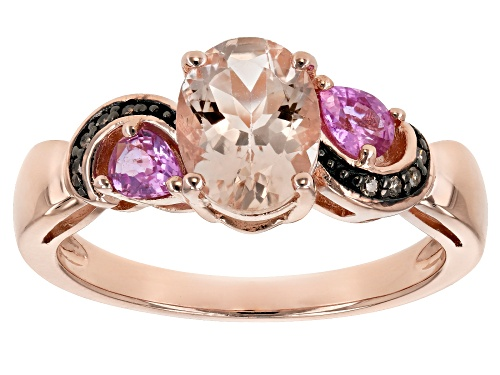 Photo of .89ct Morganite, .35ctw pink sapphire & champagne diamond accent 18k rose gold over silver ring - Size 9