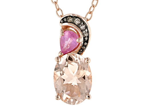 Photo of 1.06ctw Morganite, pink sapphire and 4 diamond accent 18k rose gold over silver pendant w/chain