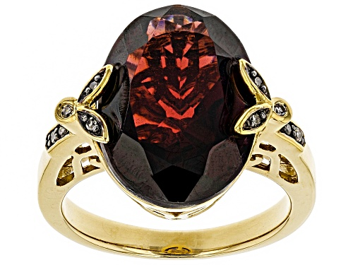 Photo of 8.50ct Vermelho Garnet™ With .04ctw Champagne Diamond Accent 18k Gold Over Silver Ring - Size 9