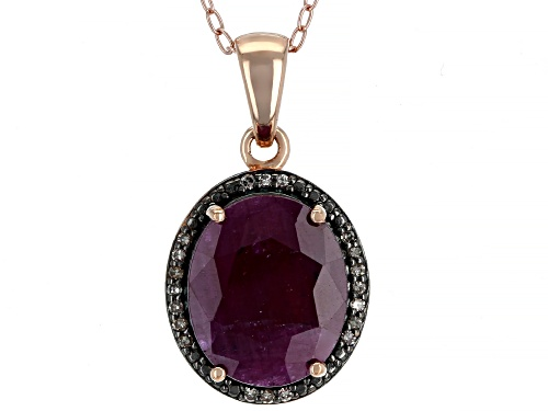 Photo of 4.67ct Indian Ruby & .06ctw Champagne Diamond Accent 18k Rose Gold Over Silver Pendant With Chain