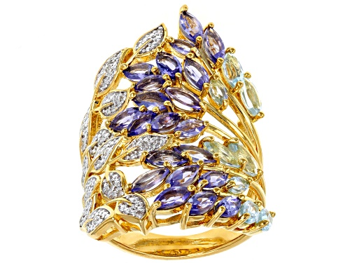 Photo of 2.11ctw tanzanite, 1.02ctw Glacier Topaz™ and .03ctw diamond accent 18k gold over silver ring - Size 7