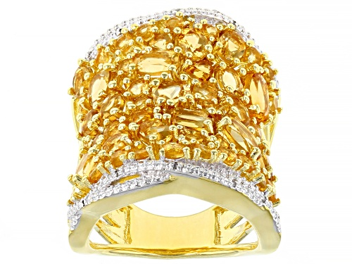 Photo of 5.23CTW MIXED SHAPE BRAZILIAN CITRINE & .02CTW WHITE DIAMOND ACCENT 18K GOLD OVER SILVER BAND RING - Size 7