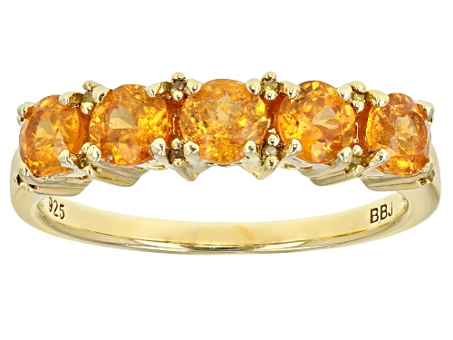 Photo of 1.27ctw Mandarin Garnet With .03ctw Yellow Diamond Accent 18k Gold Over Sterling Silver Band Ring - Size 8