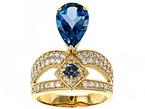 Photo of 3.23CTW LONDON BLUE TOPAZ, .91CTW WHITE ZIRCON & CHAMPAGNE DIAMOND ACCENT 18K GOLD OVER SILVER RING - Size 8