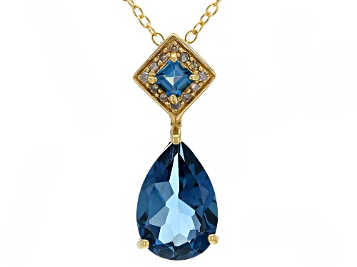 Photo of 3.23ctw London blue topaz with .05ctw champagne diamond accent 18k gold over silver pendant w/chain