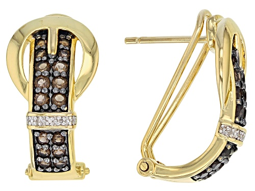 Photo of .66ctw Smoky Quartz With .02ctw White Diamond Accent 18k Gold Over Silver Buckle Earrings