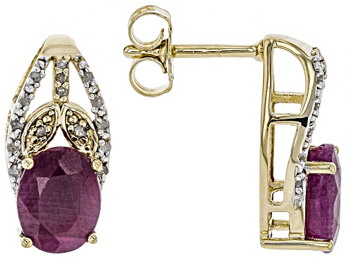 Photo of 4.25ctw Indian Ruby, .06ctw Champagne & .05ctw White Diamond Accents 18k Gold Over Silver Earrings