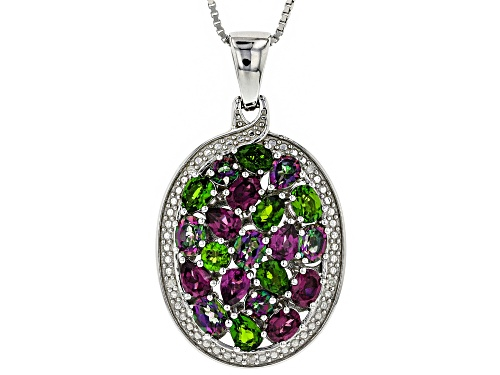 Photo of 3.30ctw Mixed Shape Multi-Gem & .02ctw Diamond Accent Rhodium Over Silver Pendant With Chain