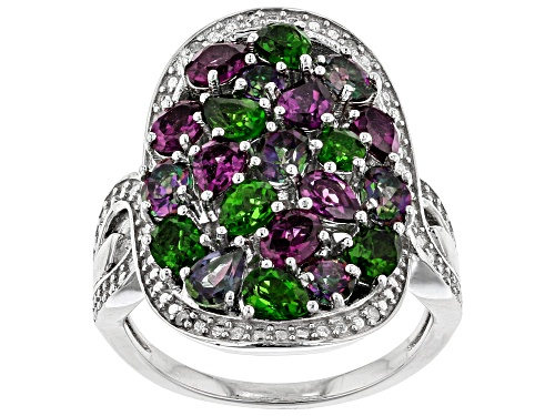 Photo of 3.30ctw Mixed Shape Multi-Gem With .02ctw Diamond Accent Rhodium Over Sterling Silver Ring - Size 7