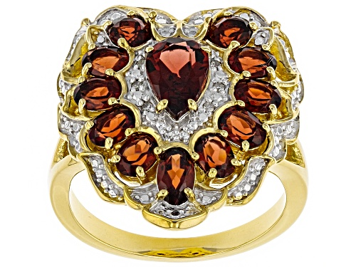 Photo of 3.12ctw Vermelho Garnet™ With .02ctw White Diamond Accents 18k Gold Over Silver Ring - Size 7