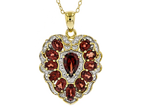 Photo of 3.12ctw Vermelho Garnet™ And .02ctw White Diamond Accent 18k Gold Over Silver Pendant With Chain