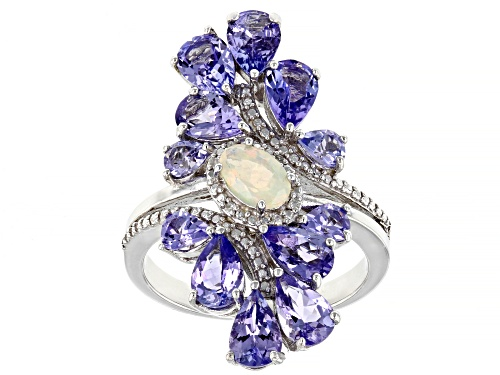Photo of .21ct Ethiopian opal with 3.09ctw tanzanite .01ctw diamond accent rhodium over silver ring - Size 6