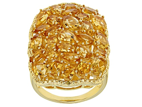 Photo of 5.96ctw Pear Shape & Oval Citrine, .01ctw Four Yellow Diamond Accent 18k Gold Over Silver Ring - Size 7