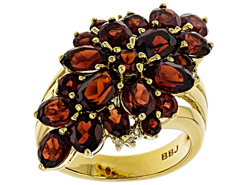 Photo of 6.23ctw oval, round Vermelho Garnet™ with .04ctw white diamond accent 18k gold over silver ring - Size 6