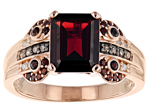 Photo of 2.63ctw Vermelho Garnet™, .12ctw white & champagne diamond accent 18k rose gold over silver ring - Size 8
