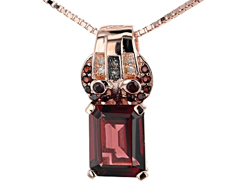 Photo of 2.54ctw Vermelho Garnet™, .02ctw 6 Diamond Accent 18k Rose Gold Over Silver Pendant/Slide W/Chain