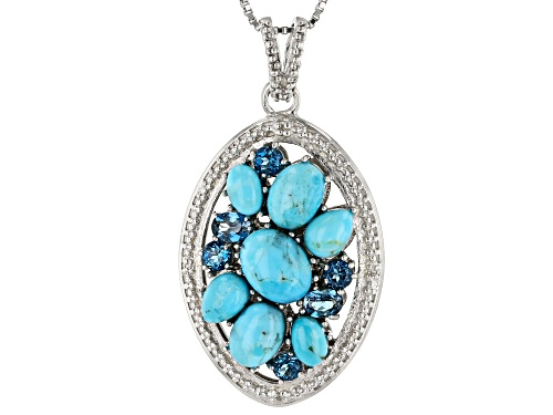 Photo of Turquoise & .83ctw London Blue Topaz & Diamond Accent Rhodium Over Silver Pendant W/ Chain
