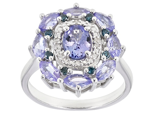 Photo of 1.65ctw tanzanite, .10ctw blue diamonds & .02ctw white diamond accent rhodium over silver ring - Size 7