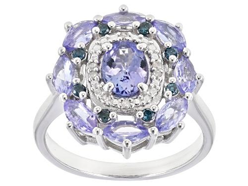 Photo of 1.65ctw tanzanite, .10ctw blue diamonds & .02ctw white diamond accent rhodium over silver ring - Size 7