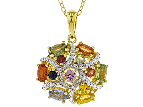 Photo of 1.93ctw Multi-Sapphire With .01ctw Two Diamond Accents 18k Gold Over Silver Pendant With Chain