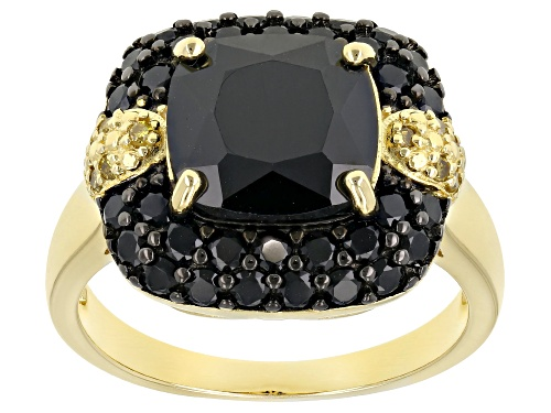 Photo of 5.62ctw Black Spinel With .07ctw Yellow Diamond Accents 18k Yellow Gold Over Sterling Silver Ring - Size 7