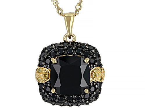 Photo of 5.87ctw Black Spinel With .07ctw Yellow Diamond Accents 18k Gold Over Silver Pendant With Chain