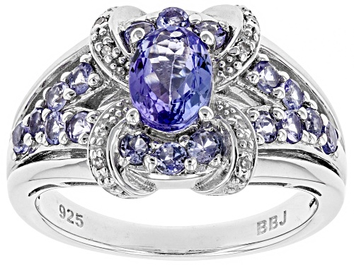 Photo of 1.25ctw Oval And Round Tanzanite With .02ctw White Diamond Accents Rhodium Over Silver Ring - Size 7