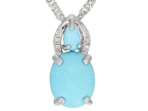 Photo of Oval & Pear Shape Sleeping Beauty Turquoise, Diamond Accent Rhodium Over Silver Pendant W/ Chain