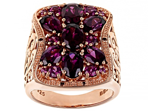 Photo of 5.13ctw Mixed Raspberry Color Rhodolite & .02ctw Red Diamond Accent 18k Rose Gold Over Silver Ring - Size 7
