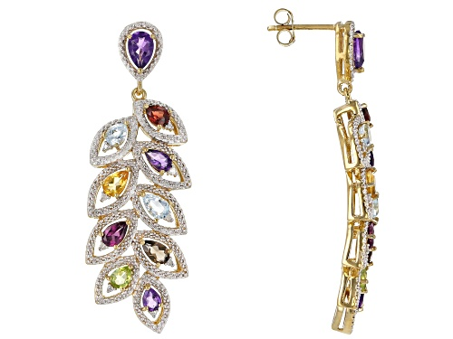 Photo of 3.83ctw Pear Shape Multi-Gem & .04ctw White Diamond Accent 18k Gold Over Silver Dangle Leaf Earrings