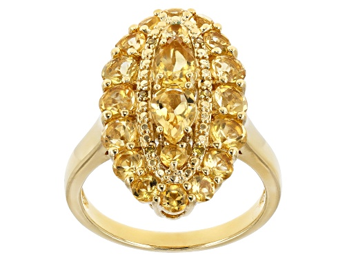 Photo of 2.12ctw Mixed Brazilian Citrine & .02ctw Round Yellow Diamond Accent 18k Gold Over Silver Ring - Size 8