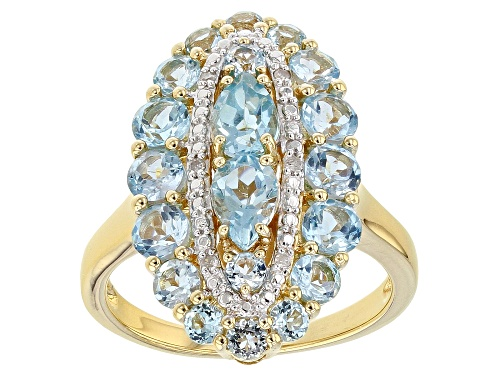 Photo of 2.92CTW PEAR SHAPE & ROUND SWISS BLUE TOPAZ WITH .03CTW DIAMOND ACCENT 18K GOLD OVER SILVER RING - Size 8