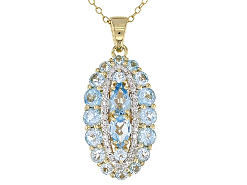 Photo of 2.92CTW SWISS BLUE TOPAZ WITH .03CTW WHITE DIAMOND ACCENT 18K GOLD OVER SILVER PENDANT W/CHAIN
