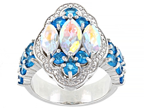 Photo of 2.22ctw Mercury Mist® Topaz, 1.68ctw Neon Apatite & .01ctw Diamond Accent Rhodium Over Silver Ring - Size 7