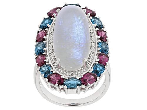 Photo of Rainbow Moonstone W/3.99ctw London Blue Topaz, Rhodolite & Diamond Accent Rhodium Over Silver Ring - Size 6