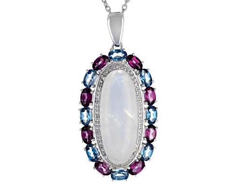 Photo of Rainbow Moonstone, 3.94ctw Multi-Gem & .03ctw Diamond Accent Rhodium Over Silver Enhancer w/Chain
