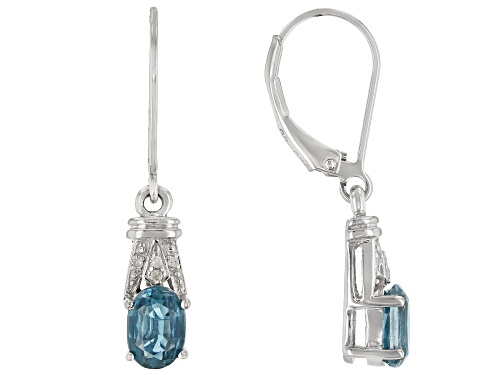 Photo of 1.78ctw Chromium Kyanite With .02ctw White Diamond Accents Rhodium Over Silver Dangle Earrings