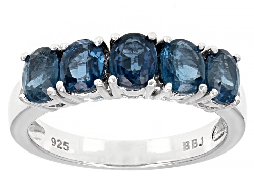 Photo of 2.04ctw Chromium Kyanite With .01ctw White Two Diamond Accent Rhodium Over Silver 5-Stone Band Ring - Size 7