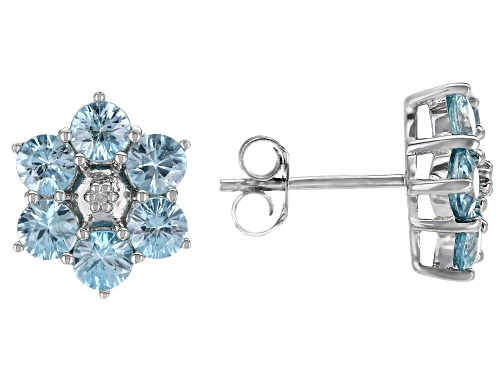 Photo of 3.93ctw round blue zircon with .01ctw round white 2 diamond accent rhodium over silver earrings